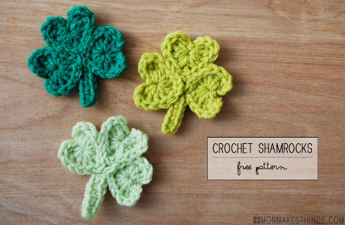 Crochet Shamrocks Free Pattern