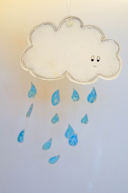 Shrink Plastic Cloud Mobile