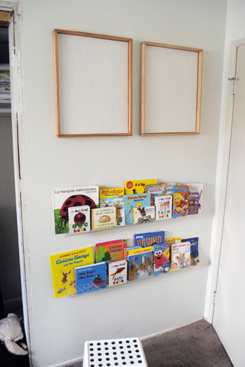 4 - adding art above book shelves & Behind the Door Book Storage - Think Crafts by CreateForLess