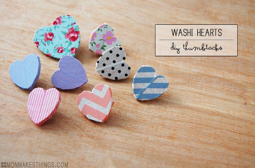 Washi Tape Heart Pins