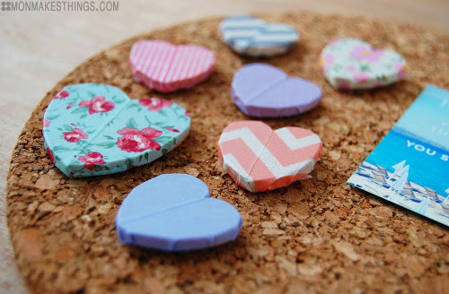 Washi Tape Heart Tacks