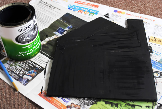 5 - applying two coats of chalkboard paint