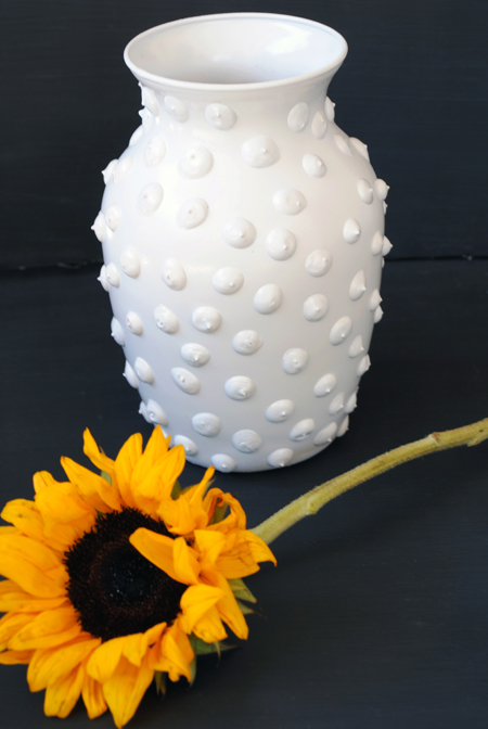 hobnail milk glass vase with sunflower