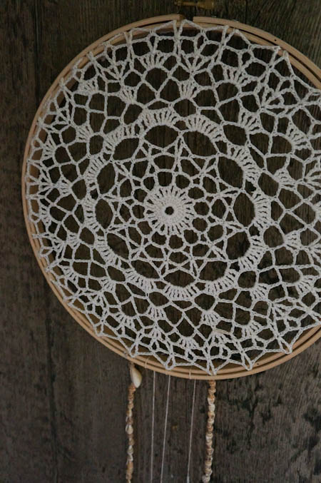 Doily and Beach Dream Catcher