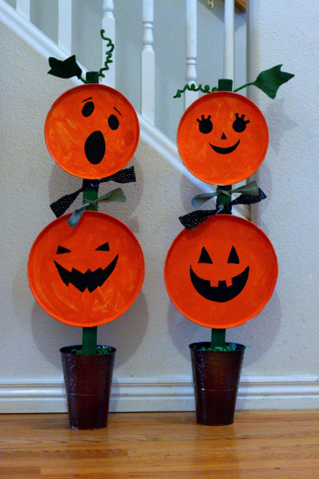 This Painted Pumpkin Topiary Is A Great Kidsu0027 Craft To Brighten Your  Doorway This Halloween