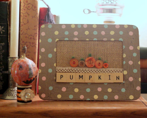 Pumpkin Picture Made from Buttons