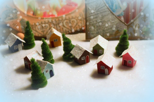 Tiny Snow Village Craft to add a little whimsy to your holiday mantel