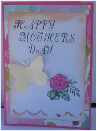 Layered Rose and Butterfly Card for Mom