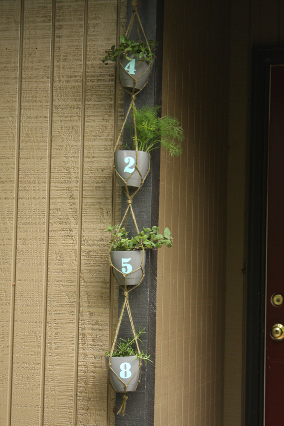 DIY a hanging planter with your house numbers!