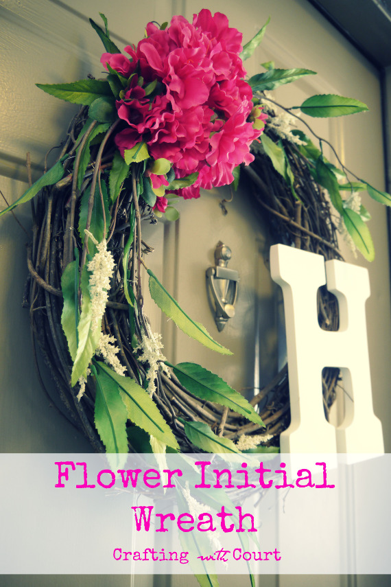 Spring Flower Initial Wreath