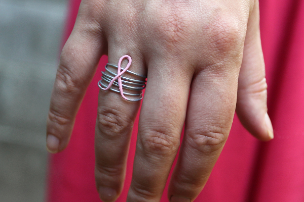rhinestone friendship pink ribbon awareness cancer string breast rings