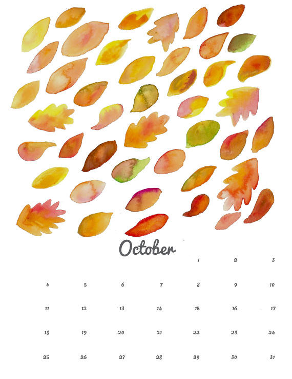 October 2015 Calendar Printable and Desktop
