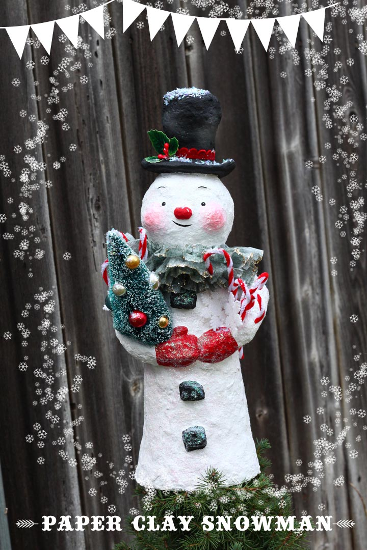 Create your own snowman for the top of your tree, your mantle, or a centerpiece!