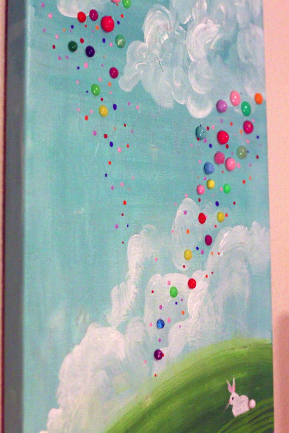DIY Enamel Dots add texture to a painting