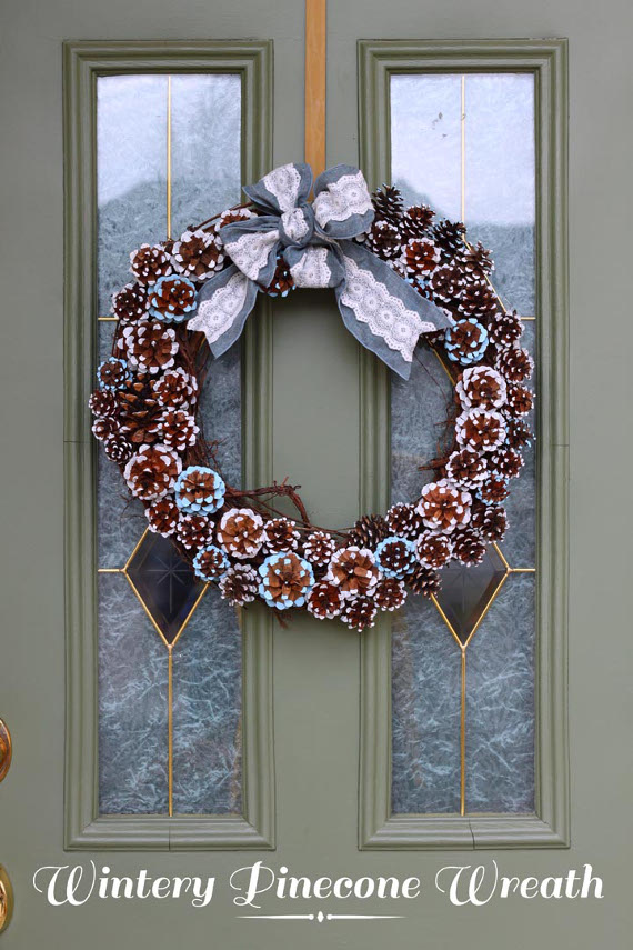 Make a pretty wreath from painted pinecones!