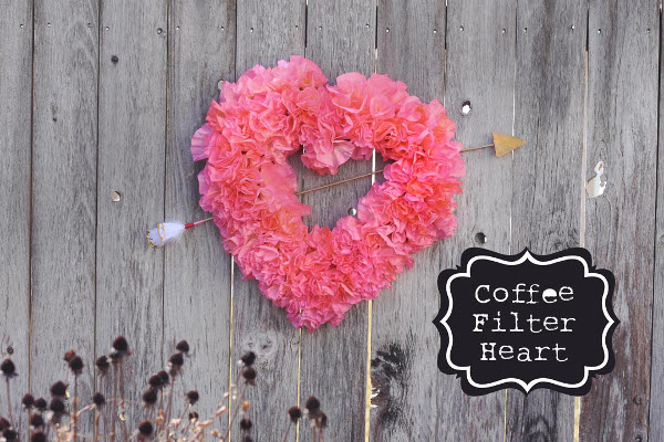 DIY your own fluffy heart wreath with coffee filters.