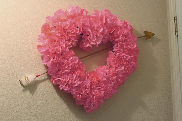 Coffee Filter Rose Heart Wreath