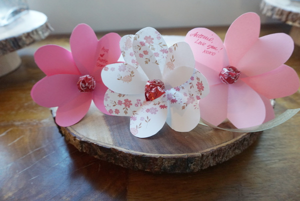 Paper Flower Valentines made from little paper hearts!