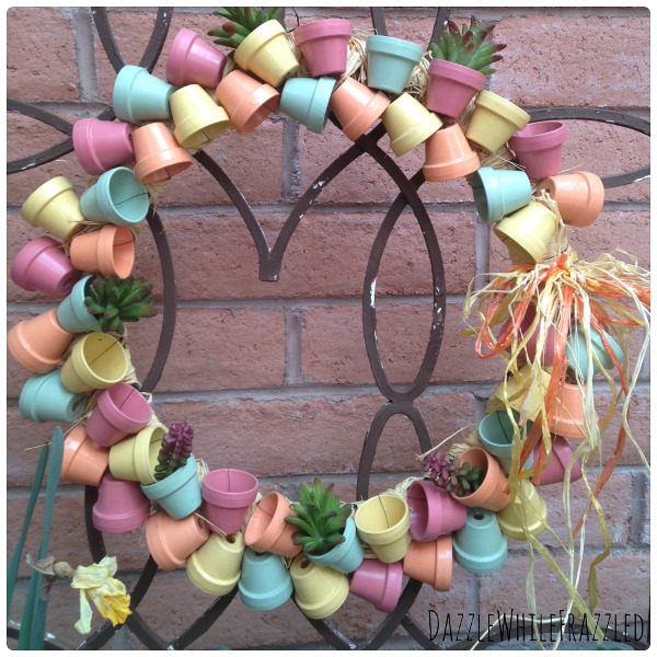 DIY Miniature Flower Pot wreath by guest blogger Victoria from Dazzle While Frazzled