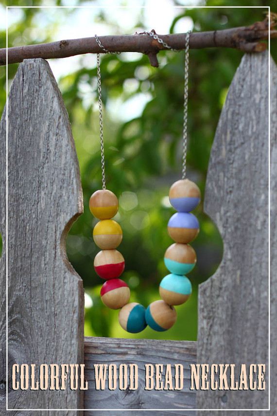 Colorful Statement Wood Bead Necklace