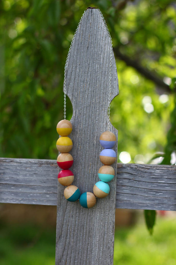 Colorful Painted Wood Bead Necklace