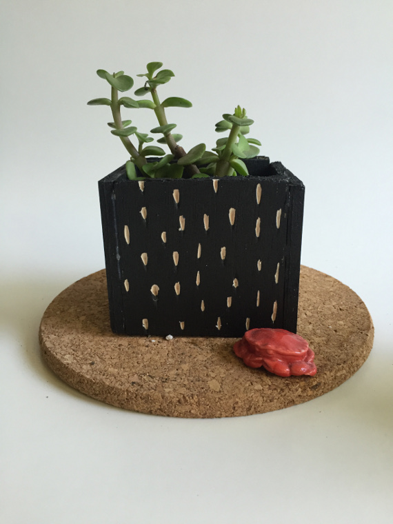 Carved Balsa Wood Planter