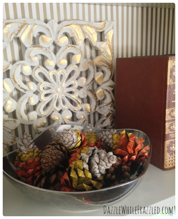 Paint some pinecones with candy corn colors!