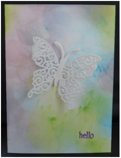 """Hello"" Butterfly Card -Creating An Inked Shadow Background"