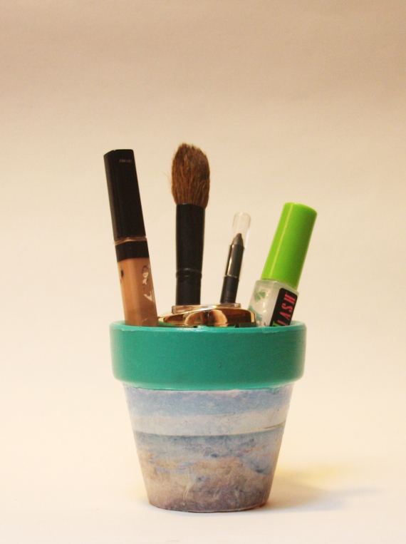 Store pens or makeup in your own customized flower pot
