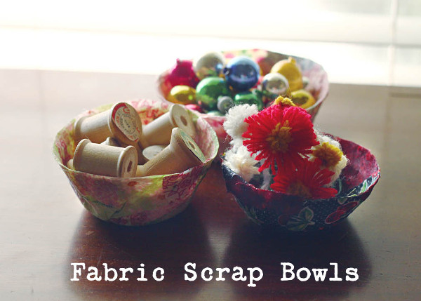 Use up those scraps you've been hoarding and create little bowls to help corral your craft supplies!