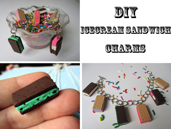 Use polymer clay to make tiny ice cream sandwich charms in your favorite flavors!