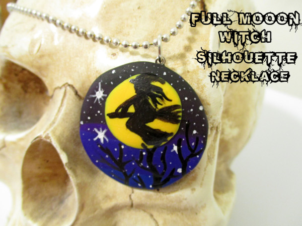 Make a fun Halloween inspired full moon necklace with polymer clay