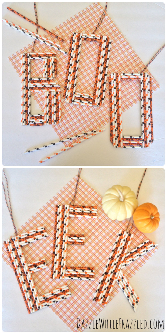 Take some festive Halloween straws and turn them into letter hangers to spell out the spookiest phrases