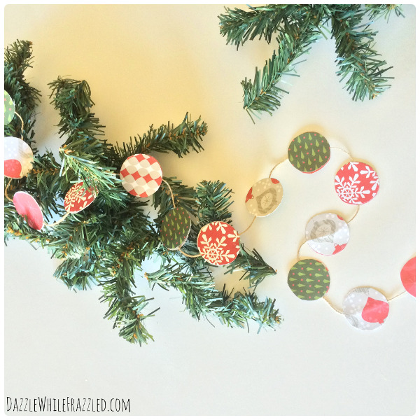 Turn your holiday scrapbook paper into a cute mini garland for a small tree or frame.