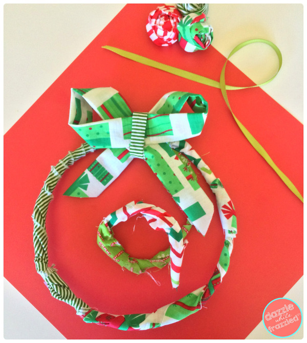 Create a cute wire wreath ornament from fabric scraps!