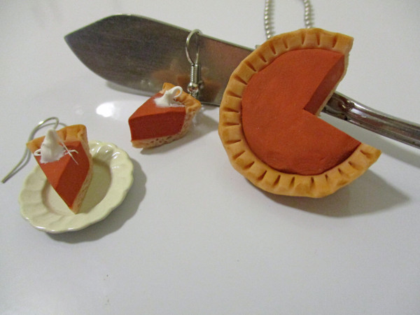 Celebrate the holidays with festive pumpkin pie jewelry for yourself or a hostess.