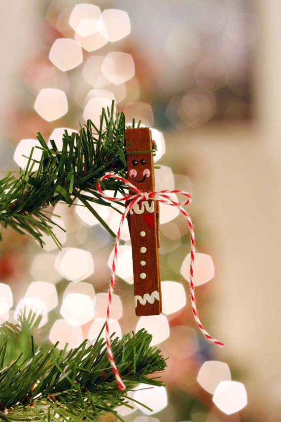 Gingerbread Clothespin Ornament