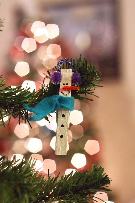 Snowman Clothespin Ornament