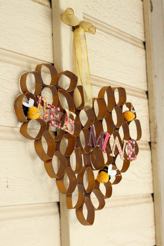DIY Honeycomb Bee Mine Valentine's Day Decoration