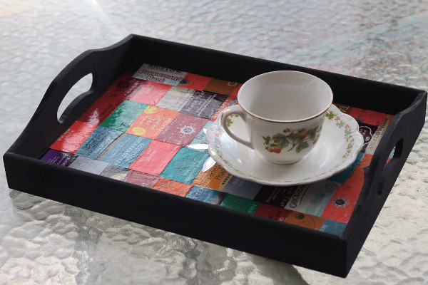 Save your tea wrappers and make a tray to serve your favorite drink