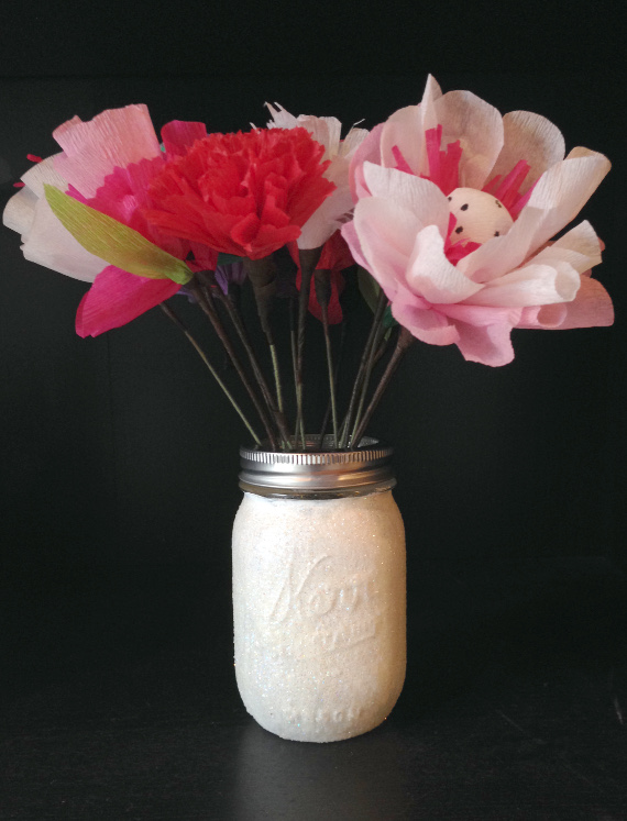 Create a glittery vase for an occasion or just for fun