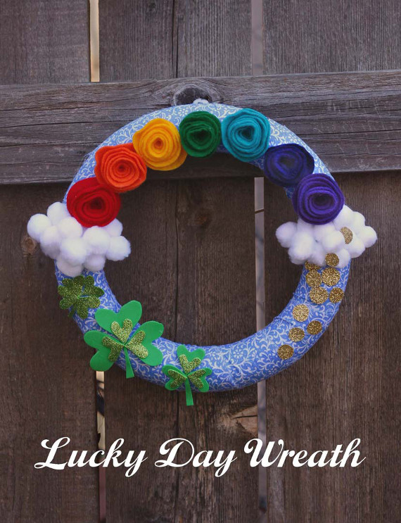 Share the luck of the Irish on your door this St. Patrick's Day wit ha fun rainbow wreath!
