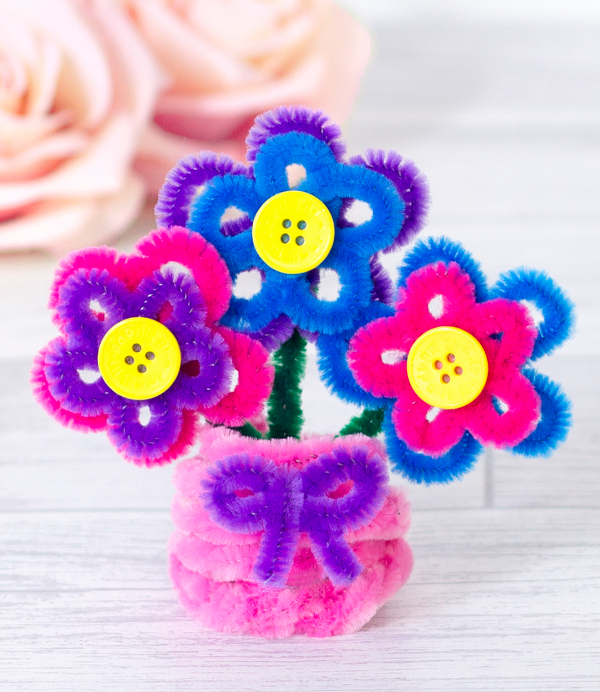 Celebrate springtime with fun and colorful pipe cleaner flowers