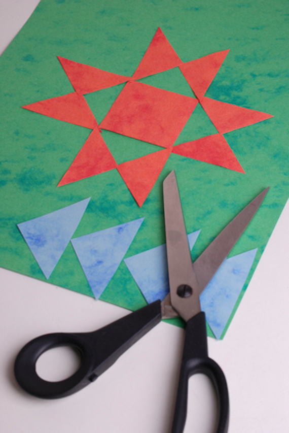 Create patchwork placemats with your kids for a fun geometry lesson.