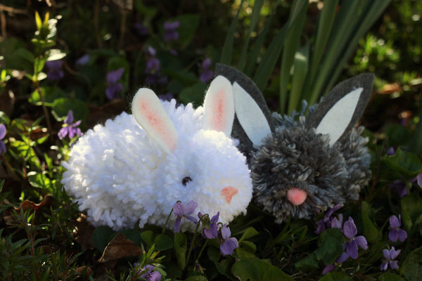 DIY your own pom pom bunny friend just in time for Easter.