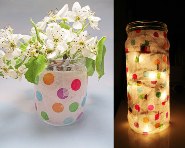 Kids can create a tissue paper vase or nightlight with a little help from a parent and some Mod Podge!