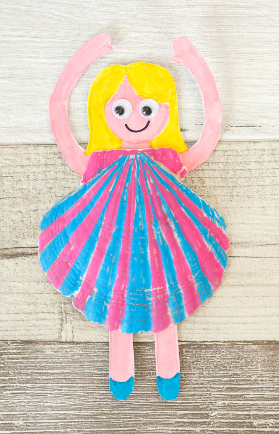 Turn a seashell into a fun dress and make your own doll.