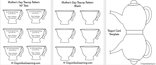 mother 39 s day teapot card template think crafts by createforless. Black Bedroom Furniture Sets. Home Design Ideas