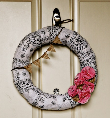 Western Bandana Wreath at ThinkCrafts.com