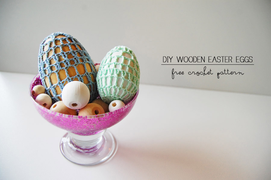 Crochet Wooden Eggs at ThinkCrafts.com